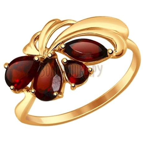 Кольцо из золота с гранатами 714631
