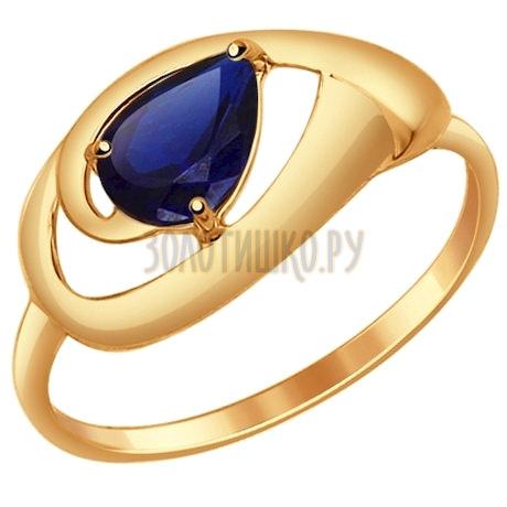 Кольцо из золота с корундом сапфировым (синт.) 714639