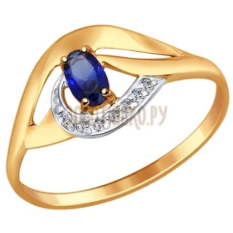 Кольцо из золота с корундом сапфировым (синт.) и фианитами 714644