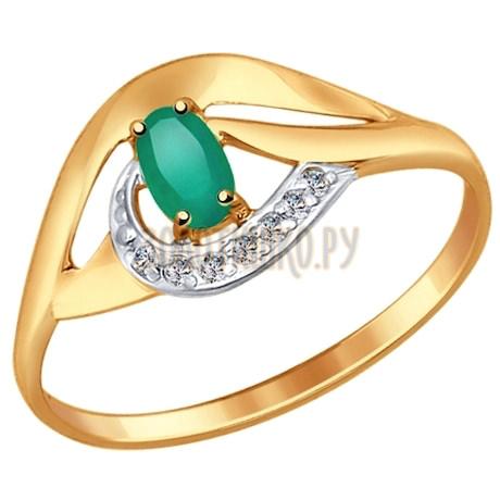 Кольцо из золота с агатом и фианитами 714645