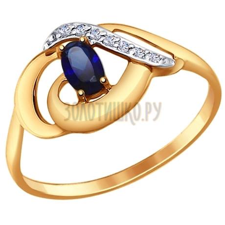 Кольцо из золота с корундом сапфировым (синт.) и фианитами 714652