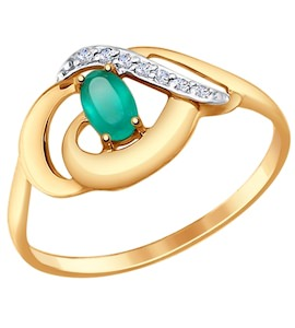 Кольцо из золота с агатом и фианитами 714653