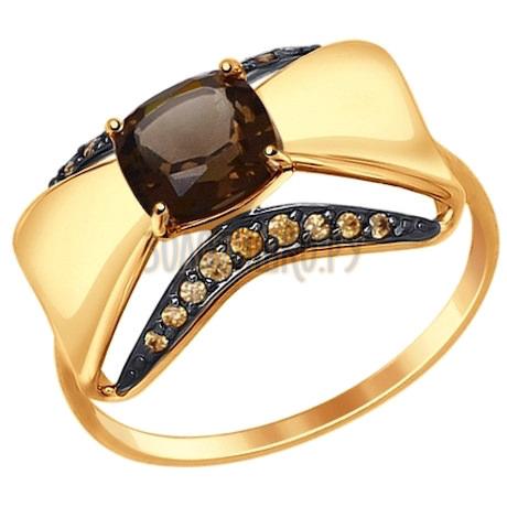 Кольцо из золота с раухтопазом и коричневыми фианитами 714685