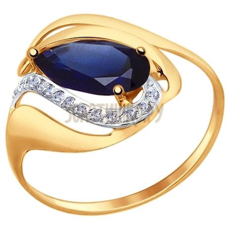 Кольцо из золота с корундом сапфировым (синт.) и фианитами 714689
