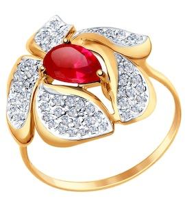 Кольцо из золота с корундом рубиновым (синт.) и фианитами 714710