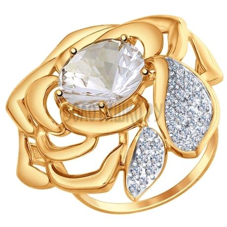 Кольцо из золота с горным хрусталем и фианитами 714726