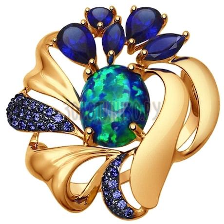 Кольцо из золота с миксом камней 714734