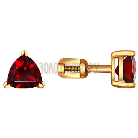 Серьги-пусеты из золота с гранатами 720550