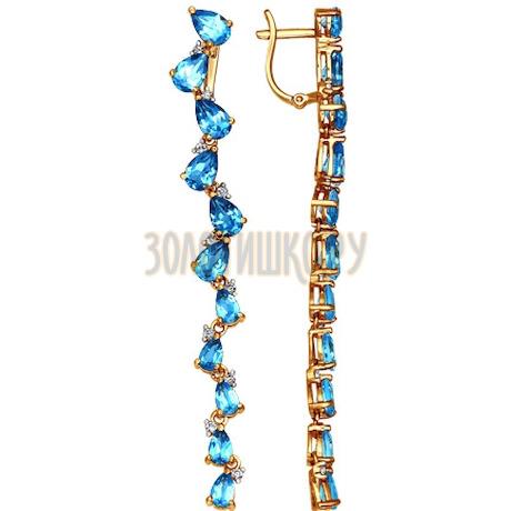 Серьги длинные из золота с топазами и фианитами 723584
