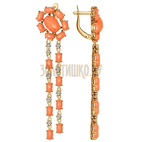 Серьги длинные из золота с кораллами и фианитами 724325