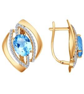 Серьги из золота с голубыми топазами и фианитами 724479