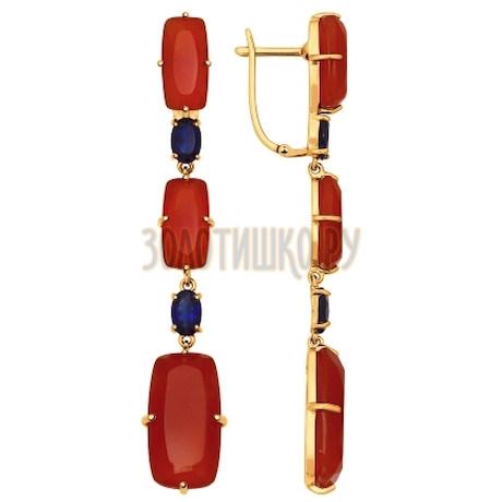 Серьги длинные из золота с полудрагоценными вставками 724505