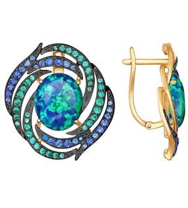 Серьги из золота с зелеными и синими фианитами 724553