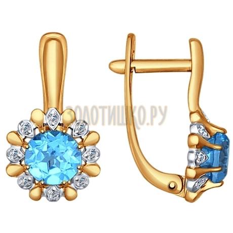 Серьги из золота с голубыми топазами и фианитами 724581