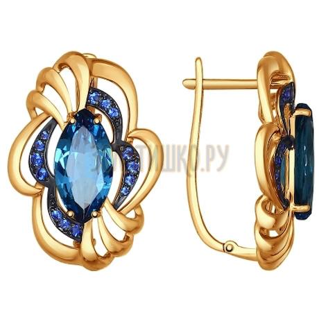 Серьги из золота с ситаллами и синими фианитами 724599
