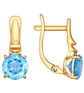 Серьги из золота с голубыми топазами 724606
