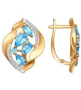 Серьги из золота с голубыми топазами и фианитами 724613