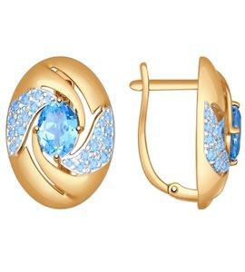 Серьги из золота с голубыми топазами и голубыми фианитами 724651