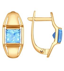 Серьги из золота с голубыми топазами 724676