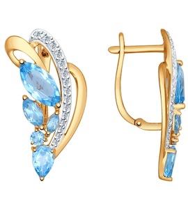 Серьги из золота с голубыми топазами и фианитами 724681