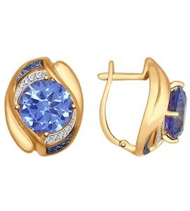 Серьги из золота с ситаллами и синими и бесцветными фианитами 724701
