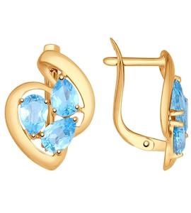 Серьги из золота с голубыми топазами 724775