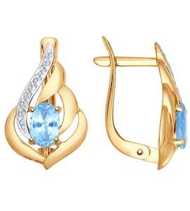 Серьги из золота с голубыми топазами и фианитами 724790