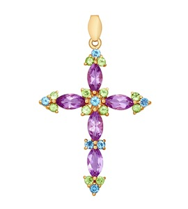 Декоративный крест из золота с полудрагоценными камнями 731214