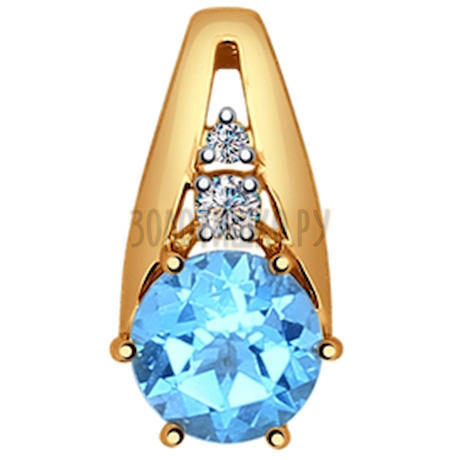 Подвеска из золота с голубым топазом и фианитами 731356