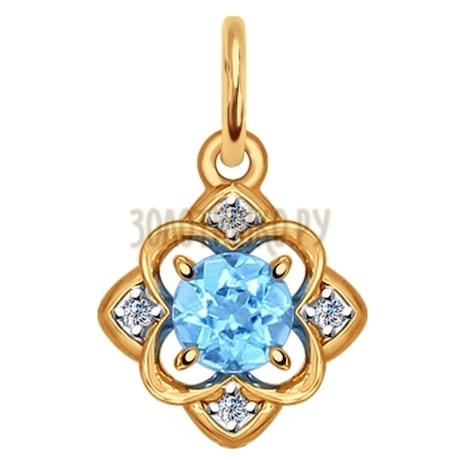 Подвеска из золота с голубым топазом и фианитами 731381