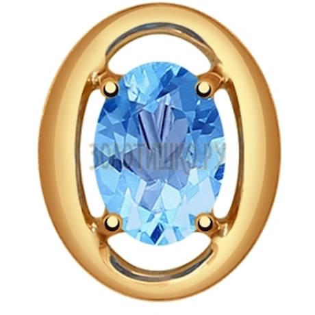 Подвеска из золота с голубым топазом 731391