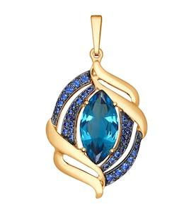 Подвеска из золота с ситаллом и синими фианитами 731432
