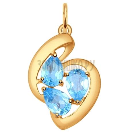 Подвеска из золота с голубыми топазами 731461
