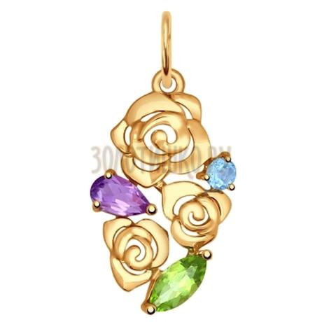 Подвеска из золота «Цветы» с полудрагоценными вставками 731481