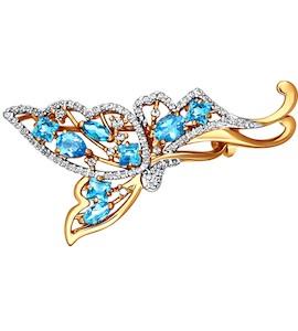 Брошь - бабочка с голубыми топазами 740054