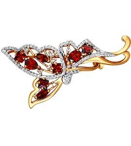Брошь «Бабочка» из красного золота 740056