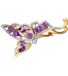 Брошь «Бабочка» с аметистами 740057