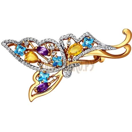 Брошь «Бабочка» с полудрагоценными вставками 740058