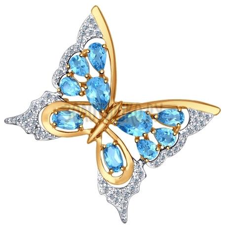 Брошь из золота с голубыми топазами и фианитами 740127