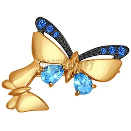 Брошь из золота с голубыми топазами и синими фианитами 740131