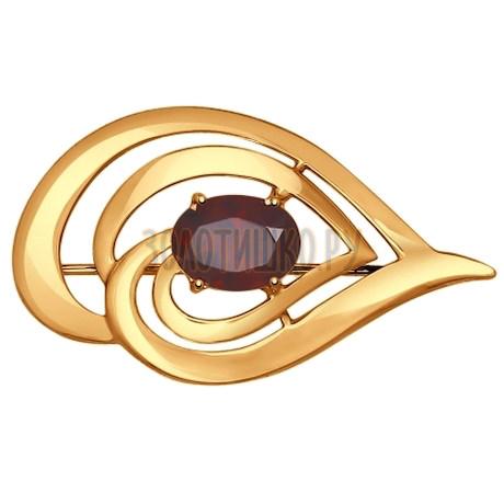 Брошь из золота с гранатом 740134