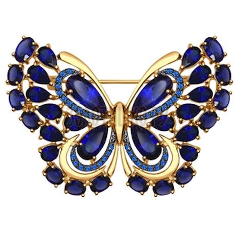 Брошь из золота с корундами сапфировыми (синт.) и синими фианитами 740149