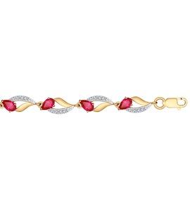 Браслет из золота с корундами рубиновыми (синт.) и фианитами 750238