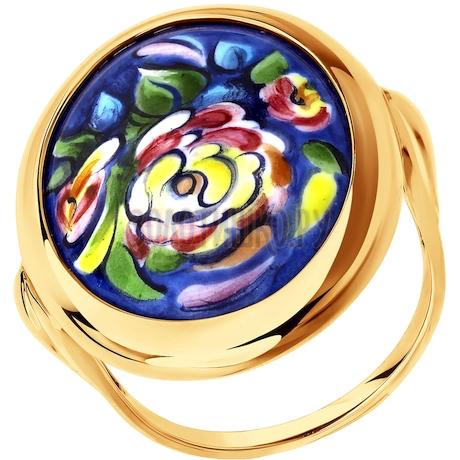 Золотое кольцо с цветочной финифтью 781002