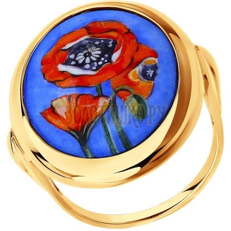 Кольцо из золота с маками 781006