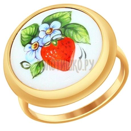 Кольцо из золота с финифтью 781010