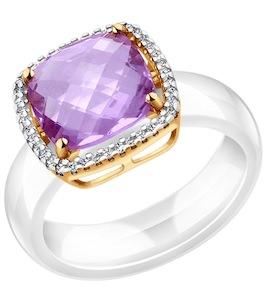 Белое керамическое кольцо с золотом и миксом камней 790008