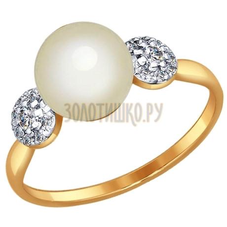 Кольцо из золота с жемчугом и фианитами 791002