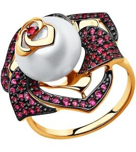 Кольцо из золота с жемчугом и красными фианитами 791021