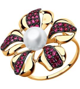Кольцо из золота с жемчугом и красными фианитами 791023